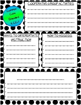 Kindergarten Common Core Math Quick Overview Planning & Documentation Forms