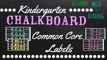 Kindergarten Common Core Math/Reading Chalkboard Labels (S