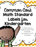 Kindergarten Common Core Math Standard Labels