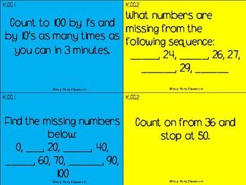 Kindergarten Common Core Math Problem Cards