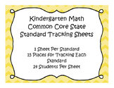 Kindergarten Common Core Standard Math Track Sheets