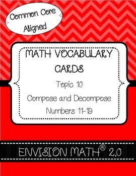 Kindergarten Common Core Math Vocab Cards Topic 10 - Compose & Decompose 11-19