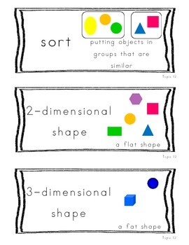 Kindergarten Common Core Math Vocab Cards Topic 12 - Identify & Describe Shapes