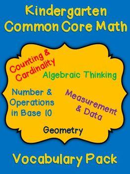 Kindergarten Common Core Math Vocabulary Cards