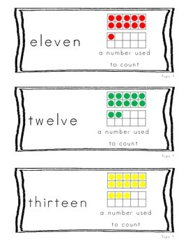 Kindergarten Common Core Math Vocabulary Cards Topic 9 - Count Numbers to 20