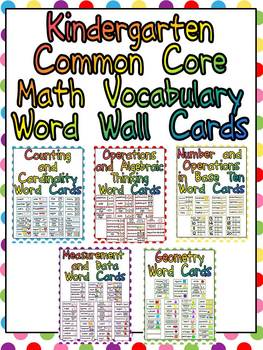 Worksheets Vocabulary Words For Kindergarten With Pictures kindergarten common core ma by melissa williams teachers pay math vocabulary word wall cards