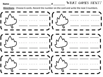 Kindergarten Common Core Math - What Comes Next? Task Cards - K.CC.2