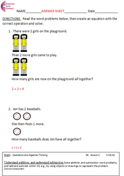 K.OA.A Kindergarten Common Core Math Worksheets Operations & Algebraic Thinking