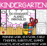 100 Kindergarten No Prep Math, Writing, Reading and Language Anytime Printables