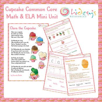 Kindergarten Common Core Math and ELA Mini Unit - Cupcake Theme!