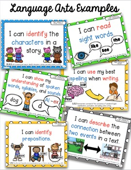 """Kindergarten Common Core Math and Language Arts """"I Can"""" Posters"""