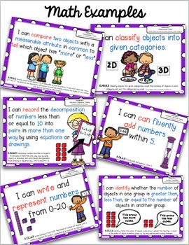 Kindergarten I Can Statements Common Core Posters