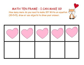 Kindergarten Common Core Math with Hearts - 10 Frames and Word Problems