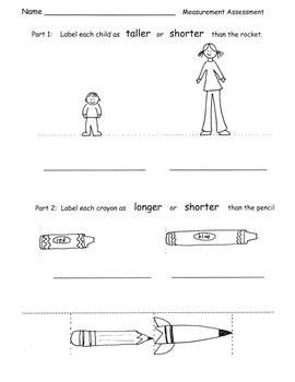 Kindergarten Common Core Measurement Unit PACK lesson plans test ALL STANDARDS