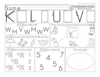 Kindergarten Morning Work • Spiral Review Morning Work Kindergarten