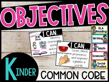 """Kindergarten Objectives - """"I can"""" posters Common Core Standards"""