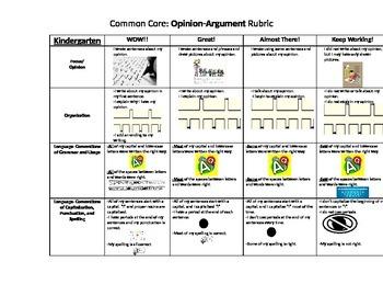 Kindergarten Common Core Opinion Rubric for KIDS