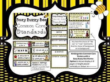 Kindergarten Common Core Posters: BUSY BUZZY BEE