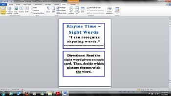 Kindergarten - Common Core - RF.K.3 - Rhyme Time Sight Wor