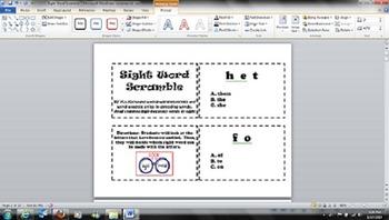 Kindergarten - Common Core RF.K.3 - Sight Word Scramble