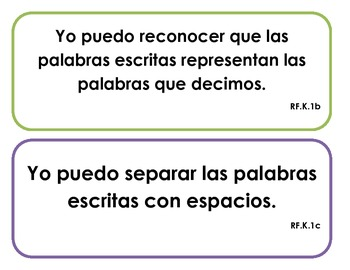"Kindergarten Common Core - Reading Foundations ""I Can"" Signs (Spanish)"