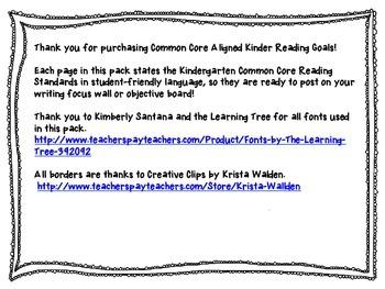 Kindergarten Common Core Reading Goals Pack