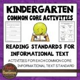 Kindergarten Reading Standards for Informational Text Activities