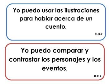 "Kindergarten Common Core - Reading Literature ""I Can"" Signs (Spanish)"
