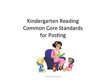 Kindergarten Common Core Reading Standards for Posting--Kids