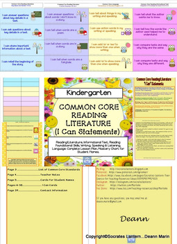 "Common Core Reading/Literature ""I Can,"" Cards for Kindergarten"