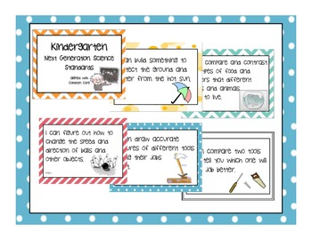 """FULL Kindergarten Next Generation Science Posters (Common Core Align) """"I Can..."""""""