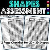 Kindergarten Common Core Shapes Checklist 2D & 3D