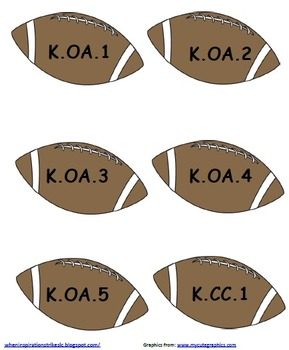 Kindergarten Common Core Sports Display
