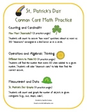 Kindergarten Common Core: St.Patrick's Day Math Practice