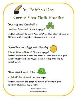 Kindergarten Common Core: St.Patrick's Day Math Practice