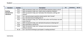 Kindergarten Common Core Standard Checklist for Students in Language Arts