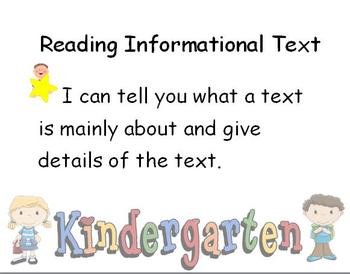 Kindergarten Common Core Standard Posters - Kid Friendly! - 103 Pages!