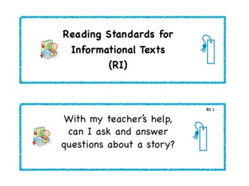 Kindergarten Common Core Standard Signs for Students in Language Arts