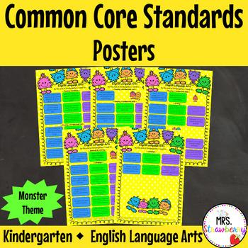 Common Core Standards Posters for Kindergarten {ELA} Monster Theme