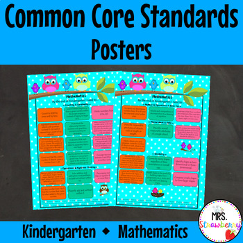 Kindergarten Common Core Standards Posters {Mathematics} Owl Theme