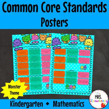 Kindergarten Common Core Standards Posters {Mathematics} Monster Theme
