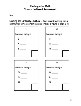 Kindergarten Common Core Standards Assessments