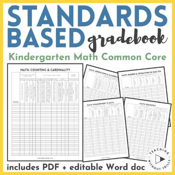 Kindergarten Common Core Standards Based Mathematics Checklist Gradebook