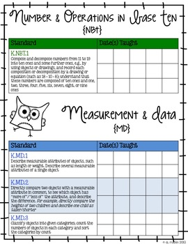Kindergarten Common Core Standards Checklist-OWLS!