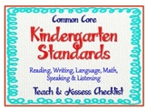 "Kindergarten Common Core Standards - ELA & Math ""Teach & A"