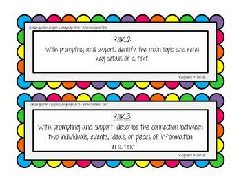 Kindergarten ELA Common Core Learning Standards- Teacher Cards & List