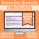 Common Core Checklist - Kindergarten