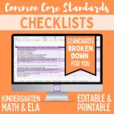 Common Core Checklist - Kindergarten ELA & Math Bundle