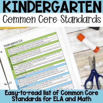 Kindergarten Common Core Standards List