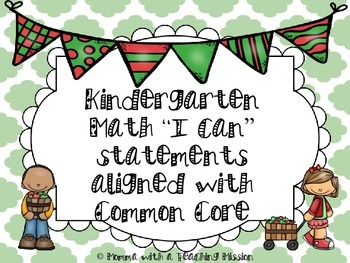 Kindergarten Common Core Standards Math I can Learning Obj
